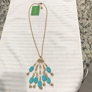 NWT Lilly Pulitzer turquoise and gold necklace